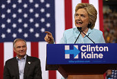 Democratic presidential candidate former Secretary of State Hillary Clinton speaks alongside her running mate Democratic vice presidential candidate...