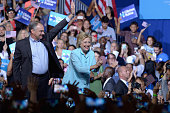 Democratic presidential candidate former Secretary of State Hillary Clinton and Democratic vice presidential candidate US Sen Tim Kaine attend...