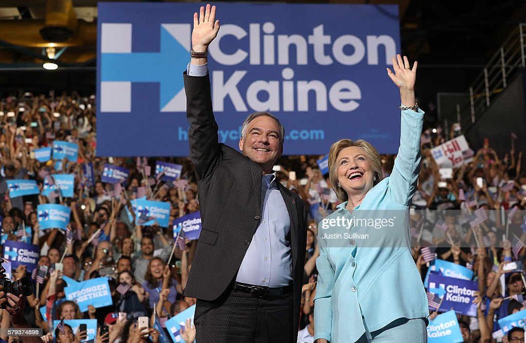 Democratic presidential candidate former Secretary of State Hillary Clinton and Democratic vice presidential candidate US Sen Tim Kaine greet...