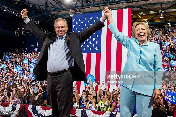 Democratic presidential candidate former Secretary of State Hillary Clinton appears with her running mate Sen Tim Kaine for the first time after...