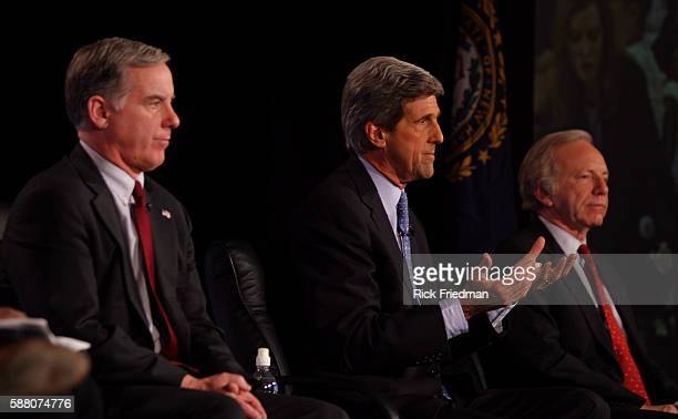 Democratic Presidential Candidate Forum held at the Wayfarer Inn in Bedford New Hampshire Senator John Kerry makes a statement as former Vermont...
