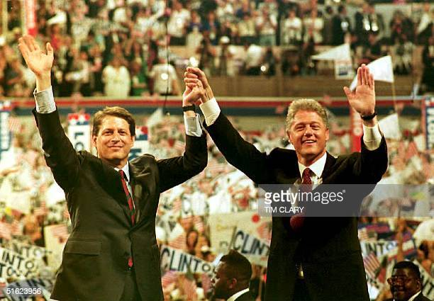 Democratic presidential candidate Gov Bill Clinton and his running mate Sen Al Gore July 2001 New York