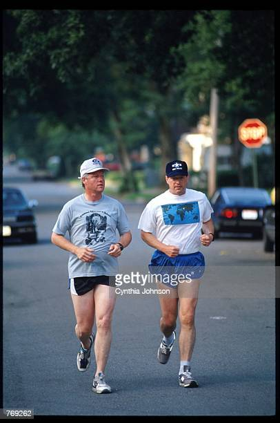 Democratic presidential candidate Governor Bill Clinton and his running mate Senator Al Gore jog July 10 1992 in Little Rock AR Clinton and Gore...