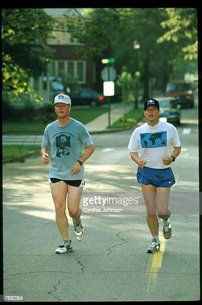 Democratic presidential candidate Governor Bill Clinton and running mate Senator Al Gore jog July 10 1992 in Little Rock AR Clinton and Gore...