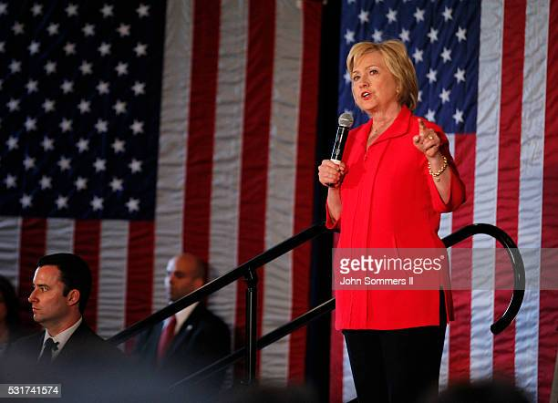 Democratic presidential candidate Hillary Clinton addresses the crowd during a campaign rally at La Gala May 16 in Bowling Green Kentucky Clinton is...