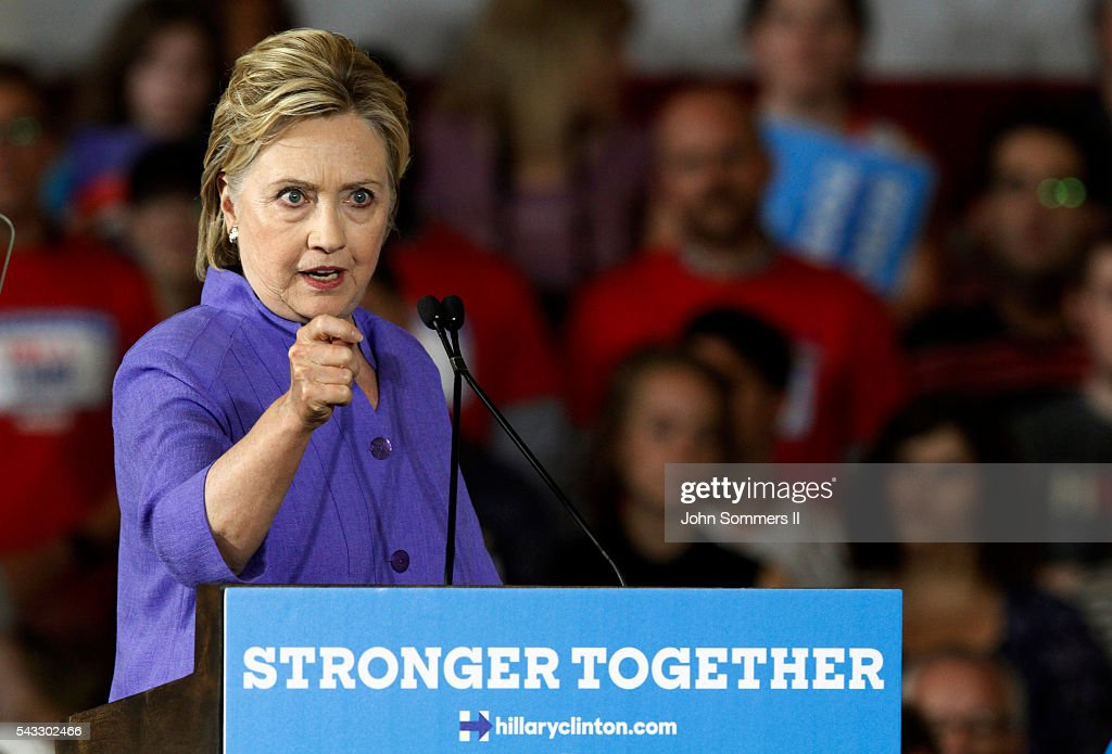 Democratic Presidential candidate Hillary Clinton addresses the crowd during a campaign rally at the Cincinnati Museum Center at Union Terminal June 27, 2016, in Cincinnati, Ohio. U.S. Sen Elizabeth Warren (D-MA) is helping Clinton campaign in Ohio.