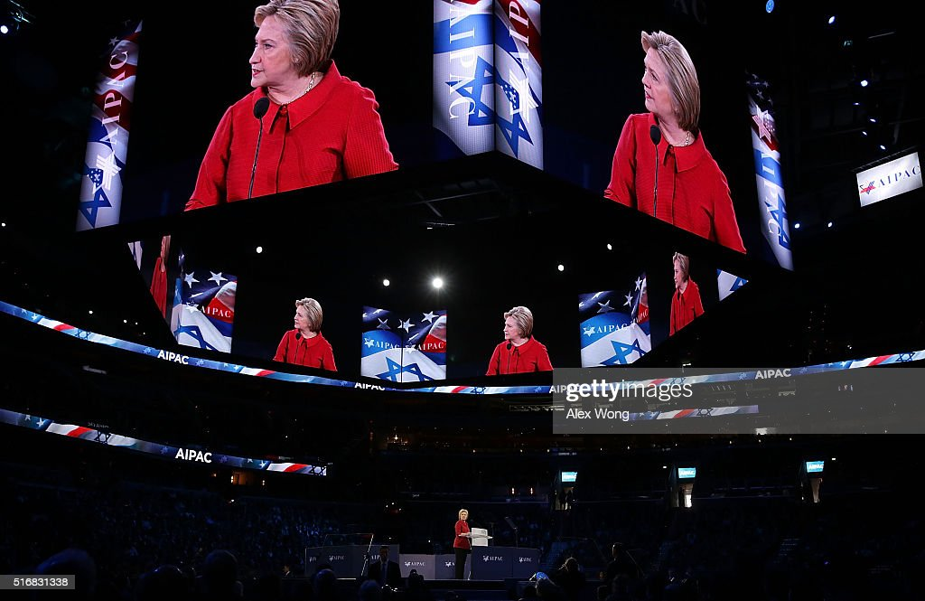 Democratic presidential candidate Hillary Clinton addresses the annual policy conference of the American Israel Public Affairs Committee (AIPAC) March 21, 2016 in Washington, DC. Presidential candidates from both parties gather in Washington to pitch their plans for Israel.