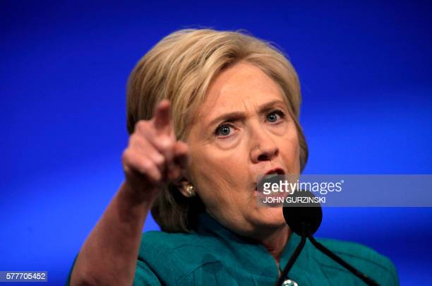 TOPSHOT Democratic Presidential candidate Hillary Clinton addresses the American Federation of State County and Municipal Employees at their...