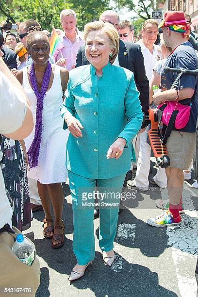 Democratic Presidential candidate HIllary Clinton and Chirlane McCray attend the 2016 Pride March on June 26 2016 in New York City