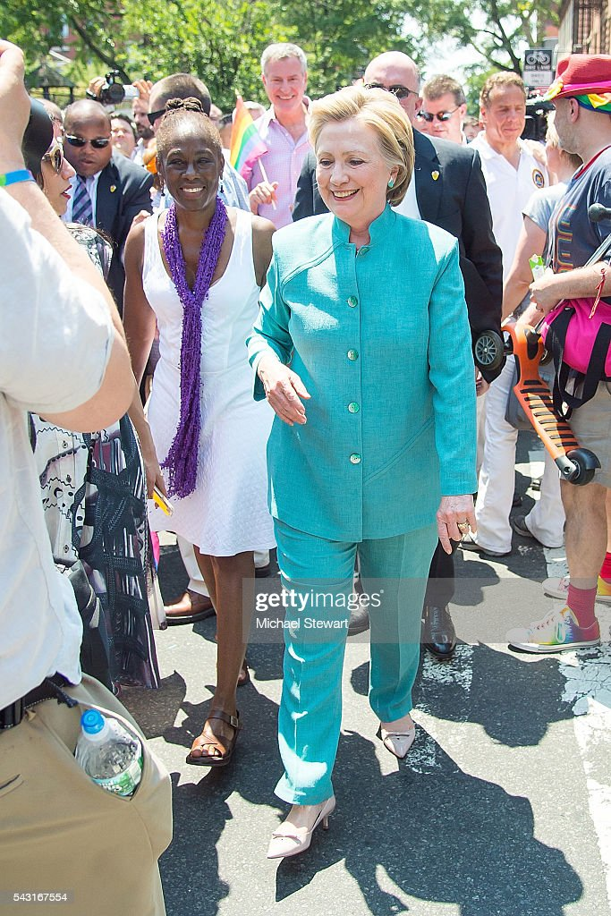 Democratic Presidential candidate HIllary Clinton and <a gi-track='captionPersonalityLinkClicked' href=/galleries/search?phrase=Chirlane+McCray&family=editorial&specificpeople=8014891 ng-click='$event.stopPropagation()'>Chirlane McCray</a> attend the 2016 Pride March on June 26, 2016 in New York City.