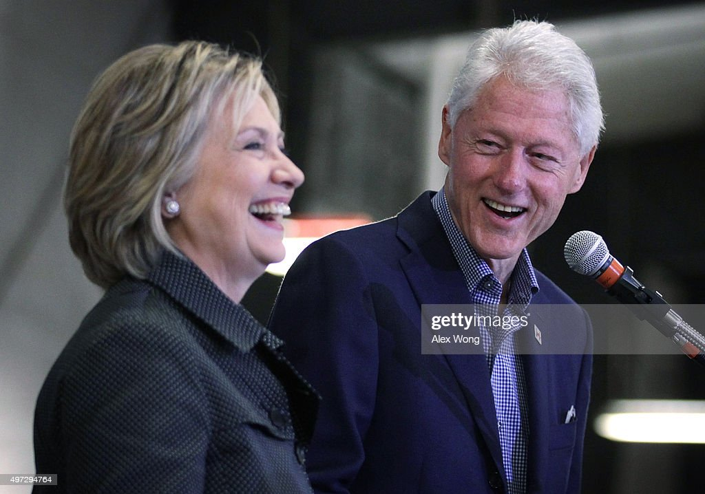 Democratic presidential candidate <a gi-track='captionPersonalityLinkClicked' href=/galleries/search?phrase=Hillary+Clinton&family=editorial&specificpeople=76480 ng-click='$event.stopPropagation()'>Hillary Clinton</a> (L) and her husband and former President <a gi-track='captionPersonalityLinkClicked' href=/galleries/search?phrase=Bill+Clinton&family=editorial&specificpeople=67203 ng-click='$event.stopPropagation()'>Bill Clinton</a> share a moment on stage during the Central Iowa Democrats fall barbecue November 15, 2015 at Hansen Agriculture Student Learning Center of Iowa State University in Ames, Iowa. Clinton continued to campaign for the nomination from the Democratic Party.