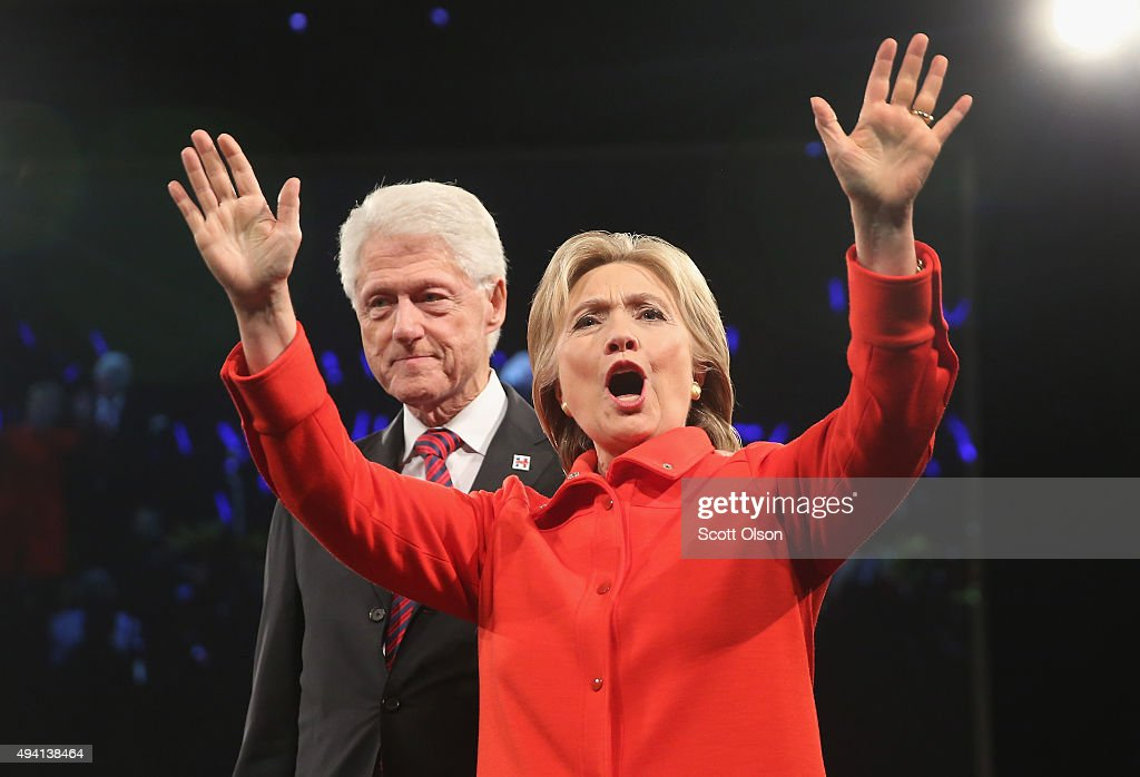 Democratic presidential candidate <a gi-track='captionPersonalityLinkClicked' href=/galleries/search?phrase=Hillary+Clinton&family=editorial&specificpeople=76480 ng-click='$event.stopPropagation()'>Hillary Clinton</a> and her husband former president <a gi-track='captionPersonalityLinkClicked' href=/galleries/search?phrase=Bill+Clinton&family=editorial&specificpeople=67203 ng-click='$event.stopPropagation()'>Bill Clinton</a> greet guests at the end of the Jefferson-Jackson Dinner on October 24, 2015 in Des Moines, Iowa. The dinner is a major fundraiser for Iowa's Democratic Party.