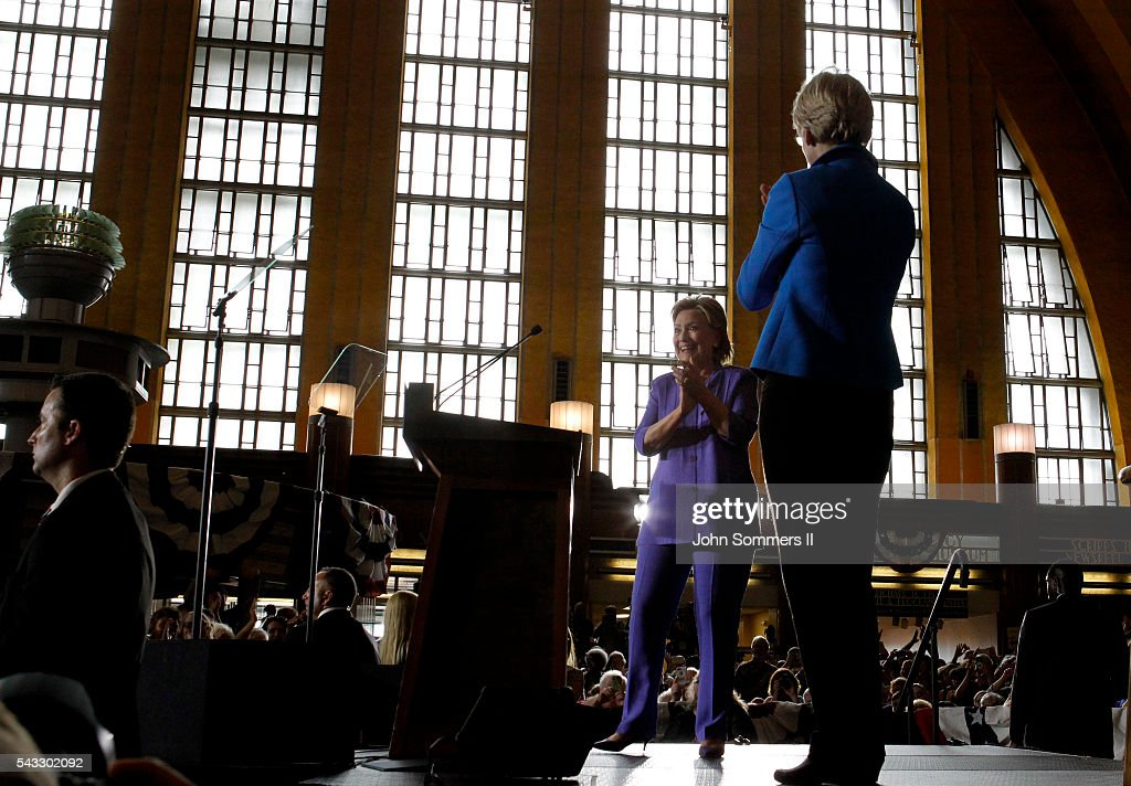 Democratic Presidential candidate <a gi-track='captionPersonalityLinkClicked' href=/galleries/search?phrase=Hillary+Clinton&family=editorial&specificpeople=76480 ng-click='$event.stopPropagation()'>Hillary Clinton</a> and U.S. Sen <a gi-track='captionPersonalityLinkClicked' href=/galleries/search?phrase=Elizabeth+Warren&family=editorial&specificpeople=5396017 ng-click='$event.stopPropagation()'>Elizabeth Warren</a> (D-MA) (R) attend a campaign rally at the Cincinnati Museum Center at Union Terminal June 27, 2016 in Cincinnati, Ohio. Warren is helping Clinton campaign in Ohio.