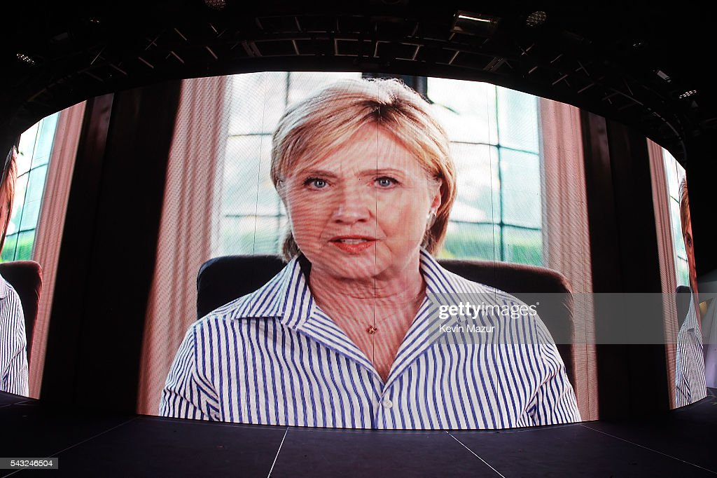 Democratic Presidential candidate HIllary Clinton announces Fergie's performance via video during New York City Pride 2016 - Dance On The Pier at Pier 26 on June 26, 2016 in New York City.