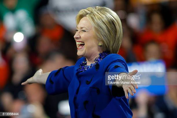 Democratic presidential candidate Hillary Clinton arrives at a rally at the Javits Center on March 2 2016 in New York City The former secretary of...