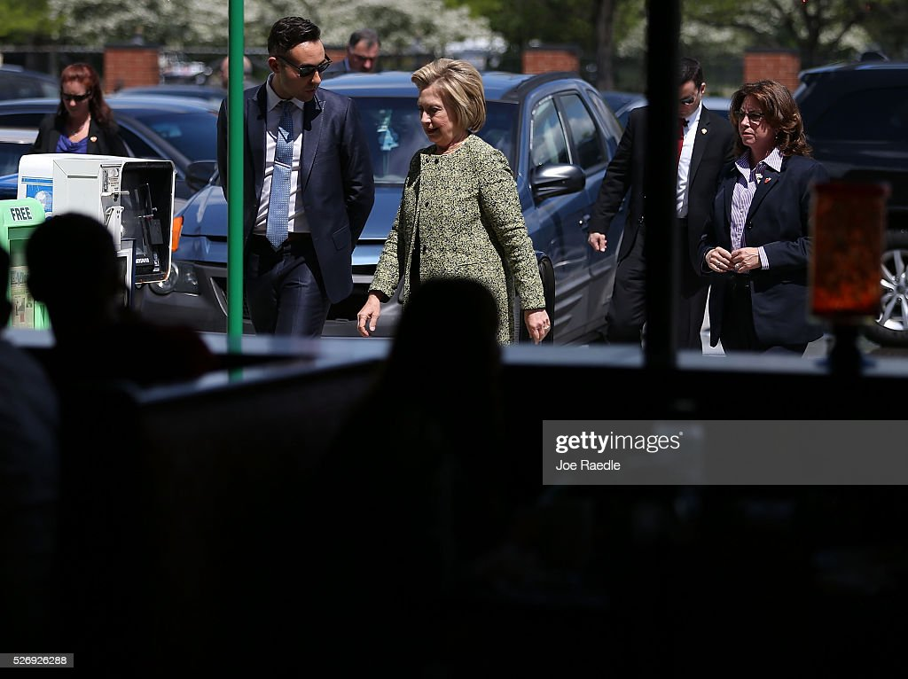 Democratic presidential candidate Hillary Clinton arrives for a stop at the Lincoln Square pancake house as she campaign for votes on May 1, 2016 in Indianapolis, Indiana. Presidential candidates continue to campaign across the state leading up to Indiana's primary day on May 3.