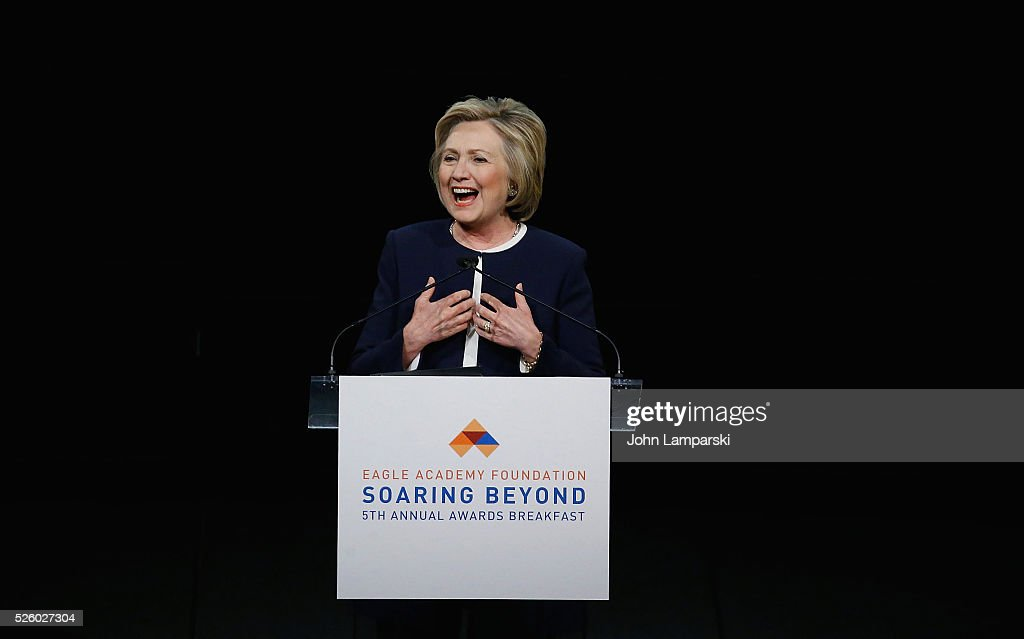 Democratic presidential candidate <a gi-track='captionPersonalityLinkClicked' href=/galleries/search?phrase=Hillary+Clinton&family=editorial&specificpeople=76480 ng-click='$event.stopPropagation()'>Hillary Clinton</a> attends 2016 Eagle Academy Foundation Fundraising Breakfast at Gotham Hall on April 29, 2016 in New York City.