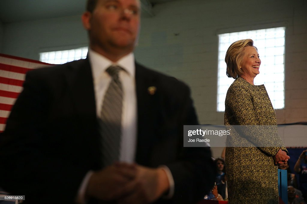Democratic presidential candidate Hillary Clinton attends a campaign stop at the Douglass Park Gynasium on May 1, 2016 in Indianapolis, Indiana. Presidential candidates continue to campaign across the state leading up to Indiana's primary day on May 3.