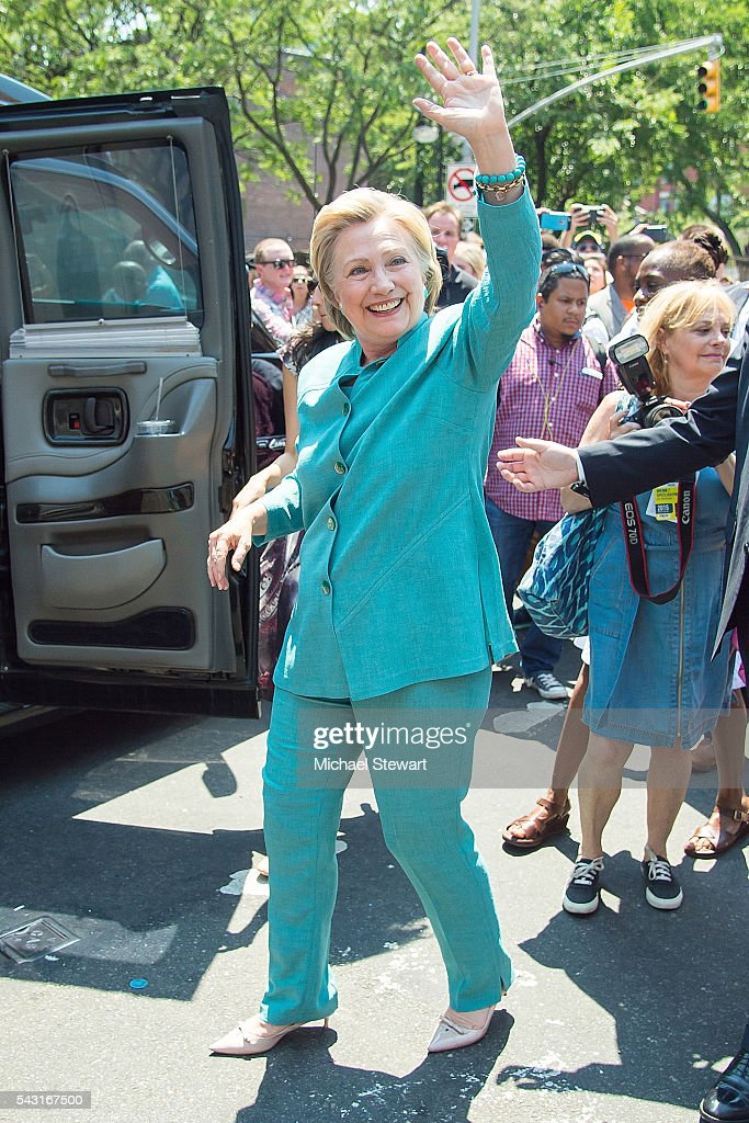 Democratic Presidential candidate HIllary Clinton attends the 2016 Pride March on June 26, 2016 in New York City.