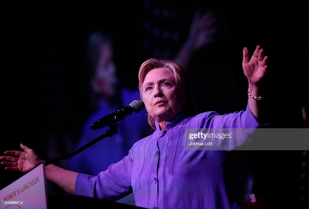 Democratic presidential candidate Hillary Clinton delivers the keynote speech during the Rainbow PUSH Coalition's International Women's Luncheon June 27, 2016 in Chicago Illinois. Clinton addressed gun violence across the country and referred to the Orlando, Florida Pulse nightclub shooting and the uptick in gun crime across Chicago.