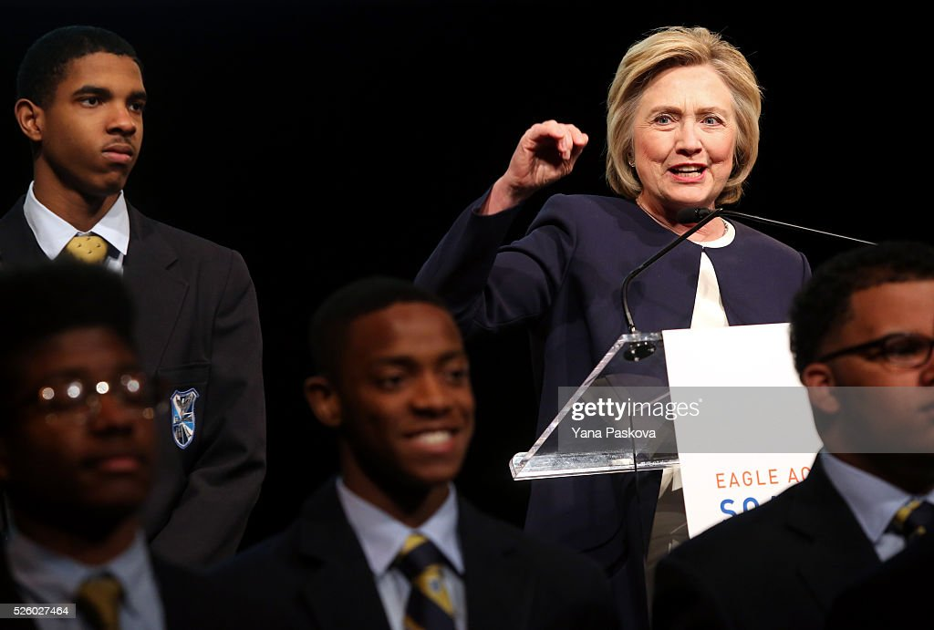 Democratic presidential candidate <a gi-track='captionPersonalityLinkClicked' href=/galleries/search?phrase=Hillary+Clinton&family=editorial&specificpeople=76480 ng-click='$event.stopPropagation()'>Hillary Clinton</a> delivers the keynote to the Eagle Academy Foundation annual fundraising breakfast in Gotham Hall on April 29, 2016 in New York City. Eagle Academy Foundation is a network of all-boys public schools in some of the city's toughest neighborhoods.