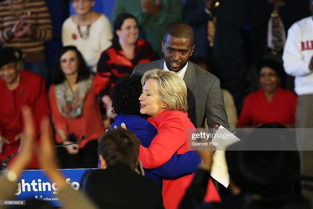 Democratic presidential candidate <a gi-track='captionPersonalityLinkClicked' href=/galleries/search?phrase=Hillary+Clinton&family=editorial&specificpeople=76480 ng-click='$event.stopPropagation()'>Hillary Clinton</a> greets District Superintendent Dr. Thelma Sojourner before speaking to voters in South Carolina a day after her debate with rival candidate Sen. Bernie Sanders (D-VT) on February 12, 2016 in Denmark, South Carolina. Clinton is counting on strong support from the African American community in South Carolina to give her a win over Sanders in the upcoming primary on February 27.