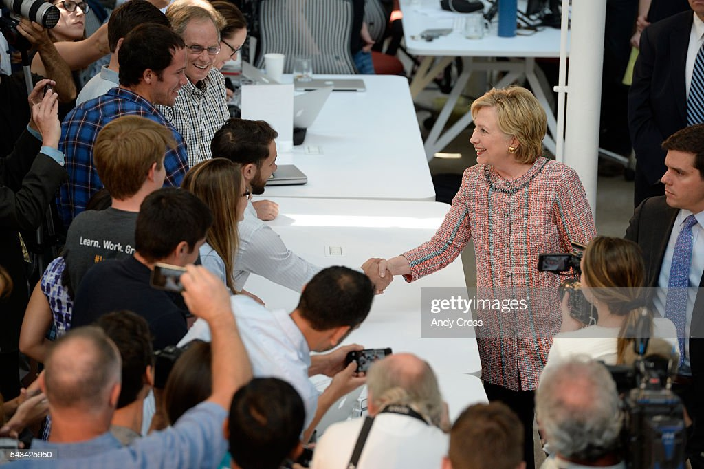 Democratic Presidential candidate <a gi-track='captionPersonalityLinkClicked' href=/galleries/search?phrase=Hillary+Clinton&family=editorial&specificpeople=76480 ng-click='$event.stopPropagation()'>Hillary Clinton</a> greets folks after her speech during a campaign stop at Galvanize June 28, 2016.