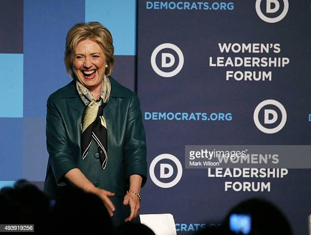 Democratic Presidential candidate Hillary Clinton greets guests after speaking at the Democratic National Committee's Women's Leadership Forum...