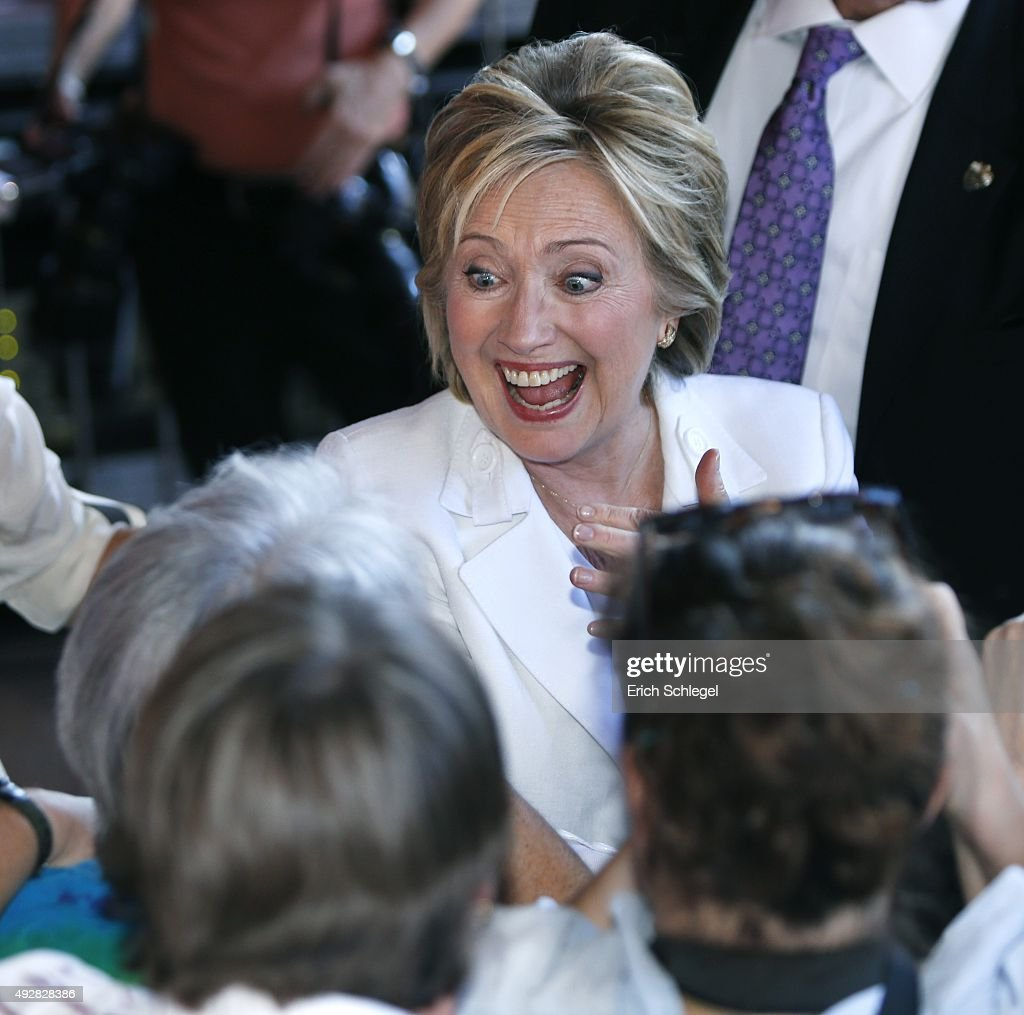 Democratic presidential candidate Hillary Clinton greets supporters at a 'Latinos for Hillary' grassroots event October 15 2015 in San Antonio Texas...