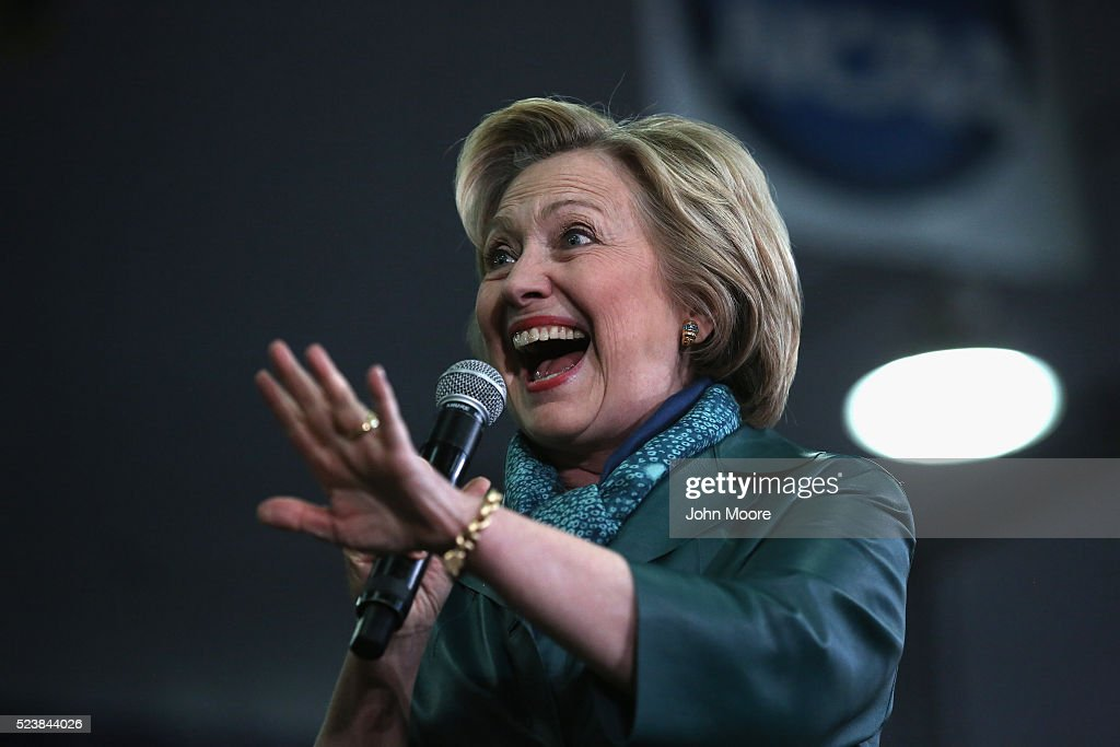 Democratic Presidential candidate Hillary Clinton greets supporters at a campaign rally on April 24, 2016 in Bridgeport, Connecticut. Candidates are campaigning ahead of Tuesday's primary election in five eastern states, including Connecticut.