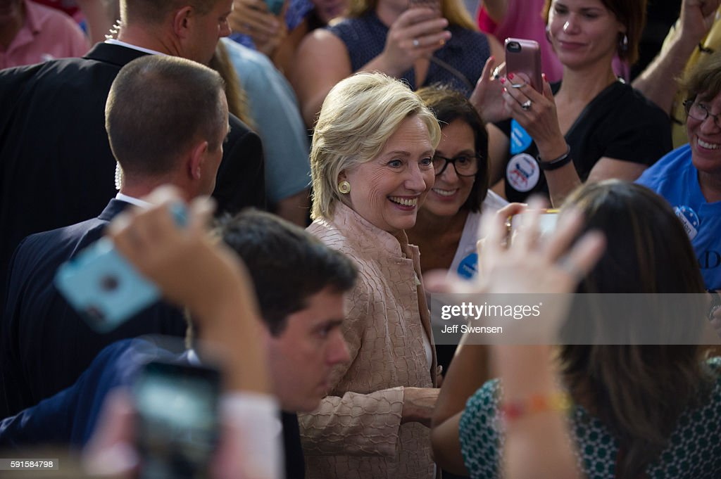Democratic presidential candidate Hillary Clinton greets supporters at a rally at John Marshall High School August 17, 2016 in Cleveland, Ohio.