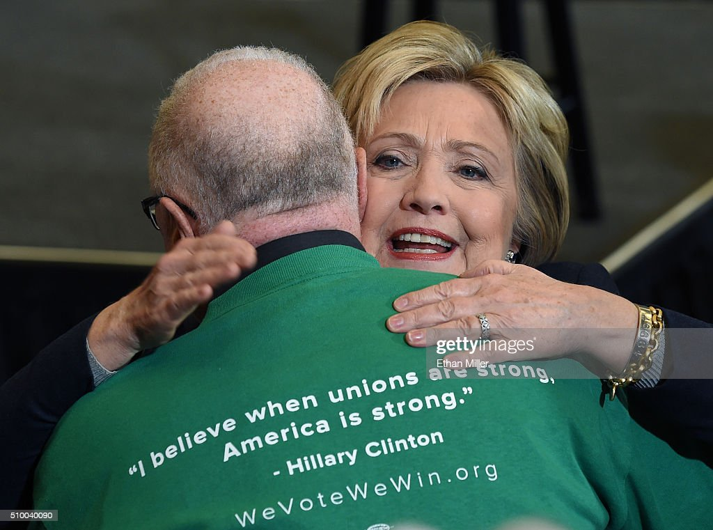 Democratic presidential candidate <a gi-track='captionPersonalityLinkClicked' href=/galleries/search?phrase=Hillary+Clinton&family=editorial&specificpeople=76480 ng-click='$event.stopPropagation()'>Hillary Clinton</a> hugs a supporter after speaking at a get-out-the-caucus event on February 13, 2016 in Henderson, Nevada. Clinton is challenging Sen. Bernie Sanders for the Democratic presidential nomination ahead of Nevada's Feb. 20 Democratic caucus.