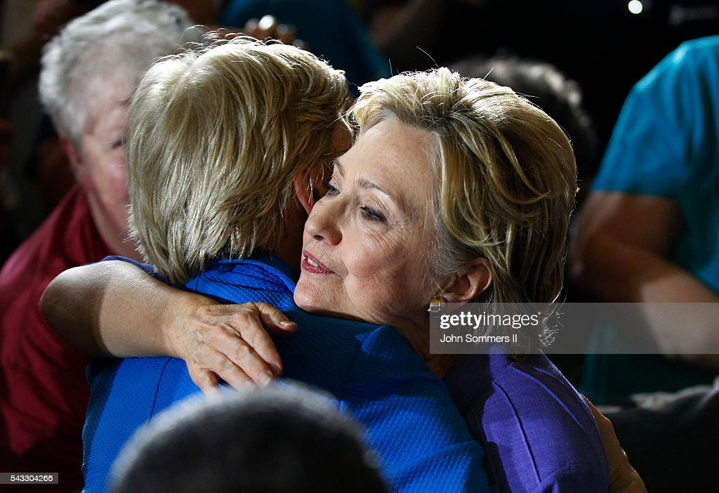 Democratic Presidential candidate <a gi-track='captionPersonalityLinkClicked' href=/galleries/search?phrase=Hillary+Clinton&family=editorial&specificpeople=76480 ng-click='$event.stopPropagation()'>Hillary Clinton</a> (R) hugs Senator Elizabeth Warren (L) after her speech at campaign rally at the Cincinnati Museum Center at Union Terminal June 27, 2016, in Cincinnati, Ohio. Warren is helping Clinton campaign in Ohio.