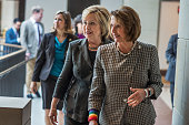 Democratic presidential candidate Hillary Clinton left and House Minority Leader Nancy Pelosi DCalif leave a meeting with House Democrats in the...