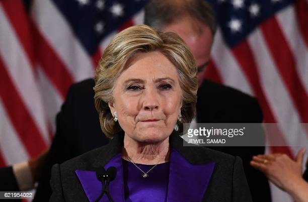 US Democratic presidential candidate Hillary Clinton makes a concession speech after being defeated by Republican presidentelect Donald Trump in New...