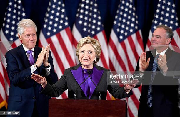 US Democratic presidential candidate Hillary Clinton makes a concession speech after being defeated by Republican presidentialelect Donald Trump as...
