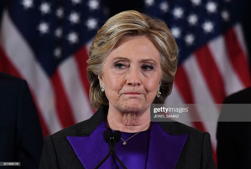 Democratic presidential candidate Hillary Clinton makes a concession speech after being defeated by Republican president-elect Donald Trump in New York on November 9, 2016. / AFP / JEWEL