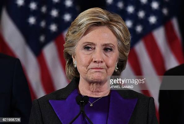 Democratic presidential candidate Hillary Clinton makes a concession speech after being defeated by Republican presidentelect Donald Trump in New...
