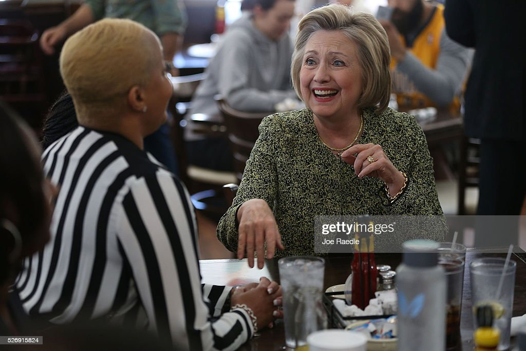 Democratic presidential candidate Hillary Clinton makes a stop at the Lincoln Square pancake house as she campaigns for votes on May 1, 2016 in Indianapolis, Indiana. Presidential candidates continue to campaign across the state leading up to Indiana's primary day on May 3.