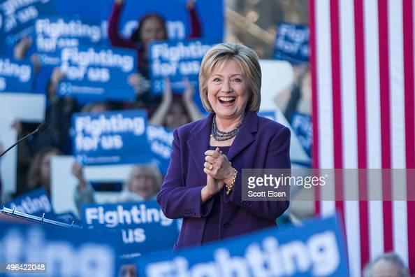 Democratic presidential candidate Hillary Clinton on stage during a rally after filing paperwork for the New Hampshire primary at the State House on...