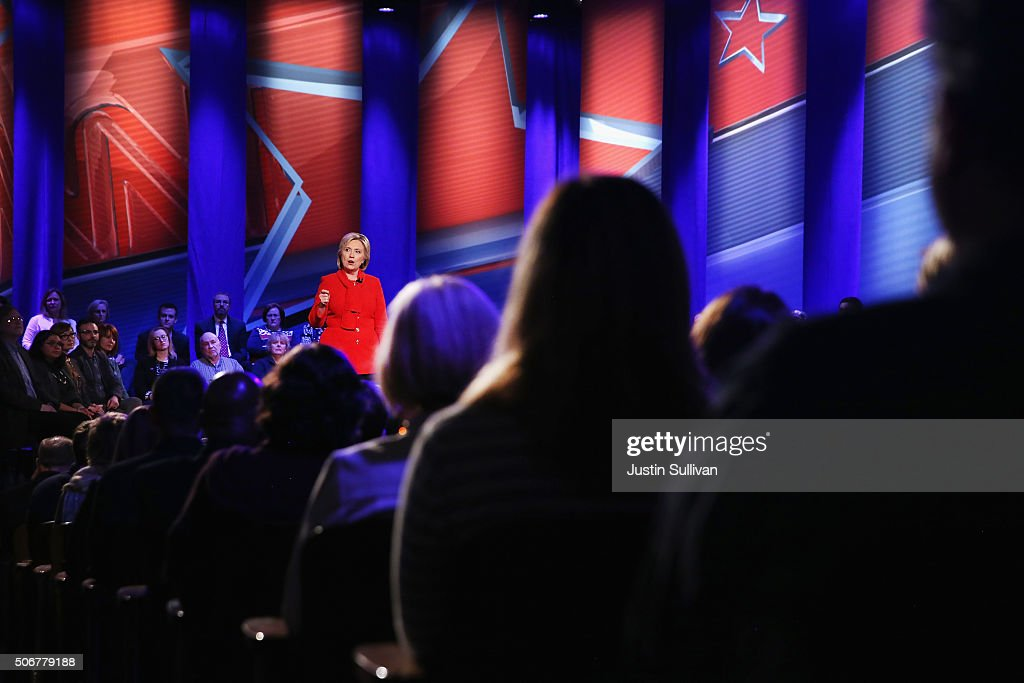 Democratic presidential candidate Hillary Clinton participates in a town hall forum hosted by CNN at Drake University on January 25, 2016 in Des Moines, Iowa. Clinton is in Iowa trying to gain support in front of the states Feb. 1 caucuses.