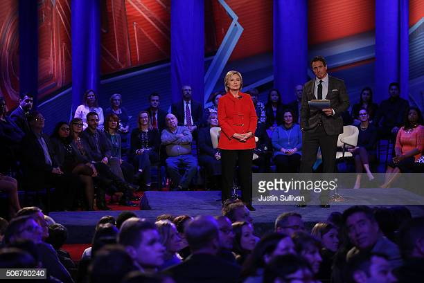 Democratic presidential candidate Hillary Clinton participates with moderator Chris Cuomo in a town hall forum hosted by CNN at Drake University on...