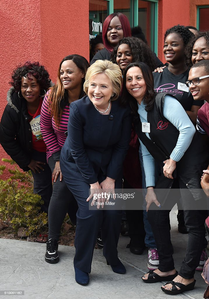 Democratic presidential candidate <a gi-track='captionPersonalityLinkClicked' href=/galleries/search?phrase=Hillary+Clinton&family=editorial&specificpeople=76480 ng-click='$event.stopPropagation()'>Hillary Clinton</a> (C) poses with workers from a beauty school on February 13, 2016 in Las Vegas, Nevada. Clinton is challenging Sen. Bernie Sanders for the Democratic presidential nomination ahead of Nevada's Feb. 20 Democratic caucus.