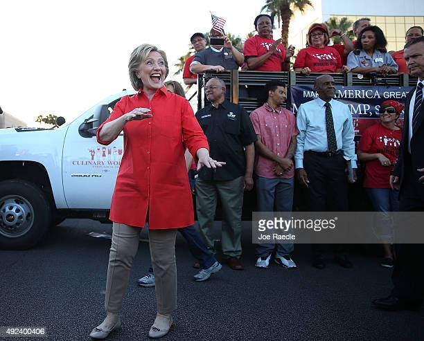 Democratic presidential candidate Hillary Clinton prepares to leave after speaking to union members gathered in front of the Trump International...