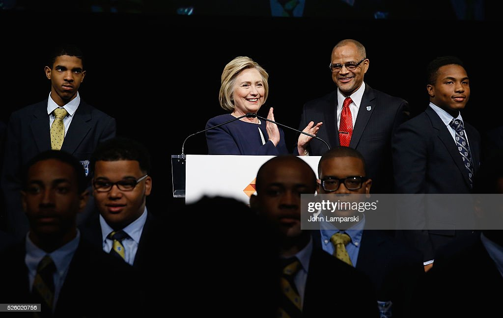 Democratic presidential candidate <a gi-track='captionPersonalityLinkClicked' href=/galleries/search?phrase=Hillary+Clinton&family=editorial&specificpeople=76480 ng-click='$event.stopPropagation()'>Hillary Clinton</a>, President and CEO of Eagle Academay David Banks along with students from the academy attend 2016 Eagle Academy Foundation Fundraising Breakfast at Gotham Hall on April 29, 2016 in New York City.