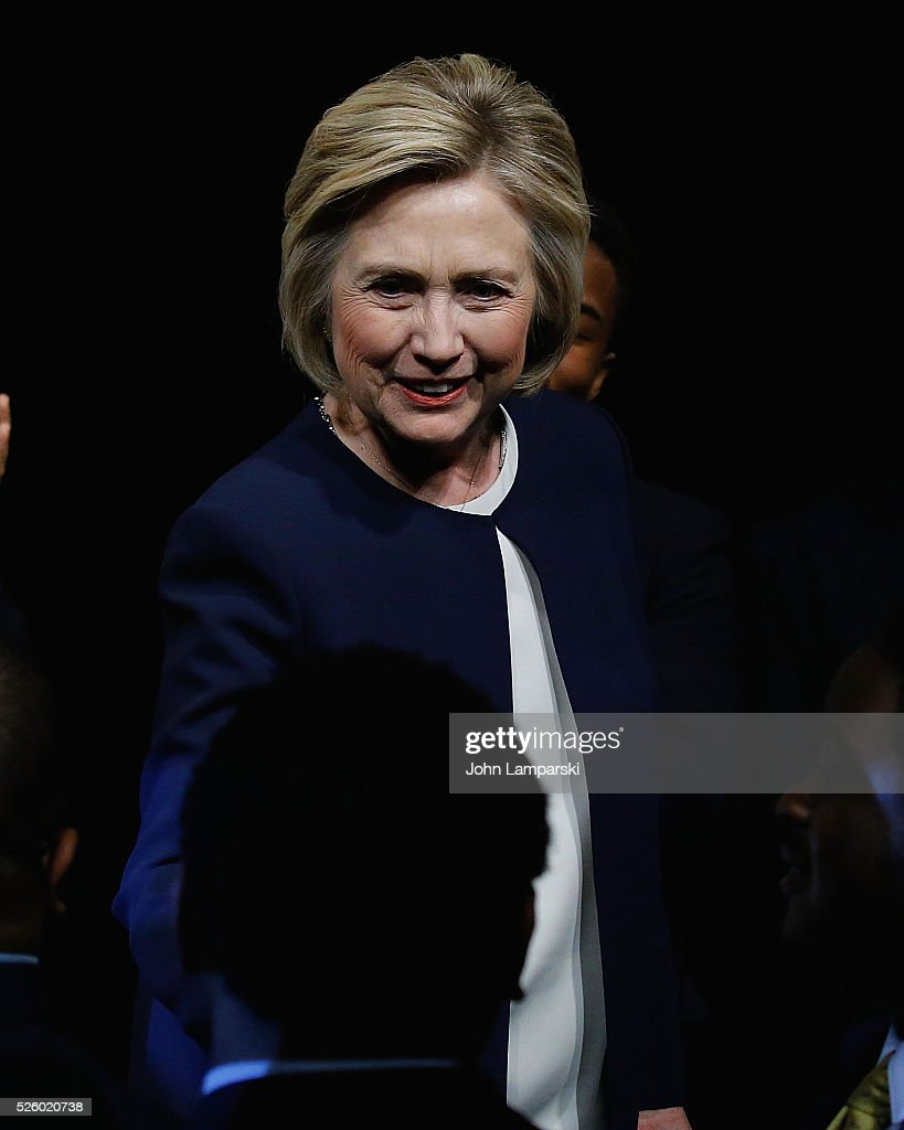 Democratic presidential candidate <a gi-track='captionPersonalityLinkClicked' href=/galleries/search?phrase=Hillary+Clinton&family=editorial&specificpeople=76480 ng-click='$event.stopPropagation()'>Hillary Clinton</a>, President and students from the academy attend 2016 Eagle Academy Foundation Fundraising Breakfast at Gotham Hall on April 29, 2016 in New York City.