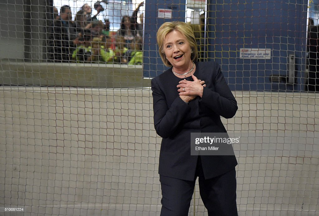 Democratic presidential candidate <a gi-track='captionPersonalityLinkClicked' href=/galleries/search?phrase=Hillary+Clinton&family=editorial&specificpeople=76480 ng-click='$event.stopPropagation()'>Hillary Clinton</a> reacts after a shot from a youth soccer player went wide of the goal as she played goaltender at the Las Vegas Indoor Sports Center on February 13, 2016 in Las Vegas, Nevada. Clinton is challenging Sen. Bernie Sanders for the Democratic presidential nomination ahead of Nevada's Feb. 20 Democratic caucus.