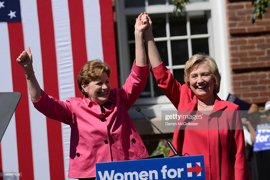 Democratic presidential candidate Hillary Clinton (R) receives an endorsement from U.S. Senator Jeanne Shaheen (D-NH) September 5, 2015 in Portsmouth, New Hampshire. Clinton attended a Women for Hillary event at Portsmouth High School before a day of campaigning over the holiday weekend.