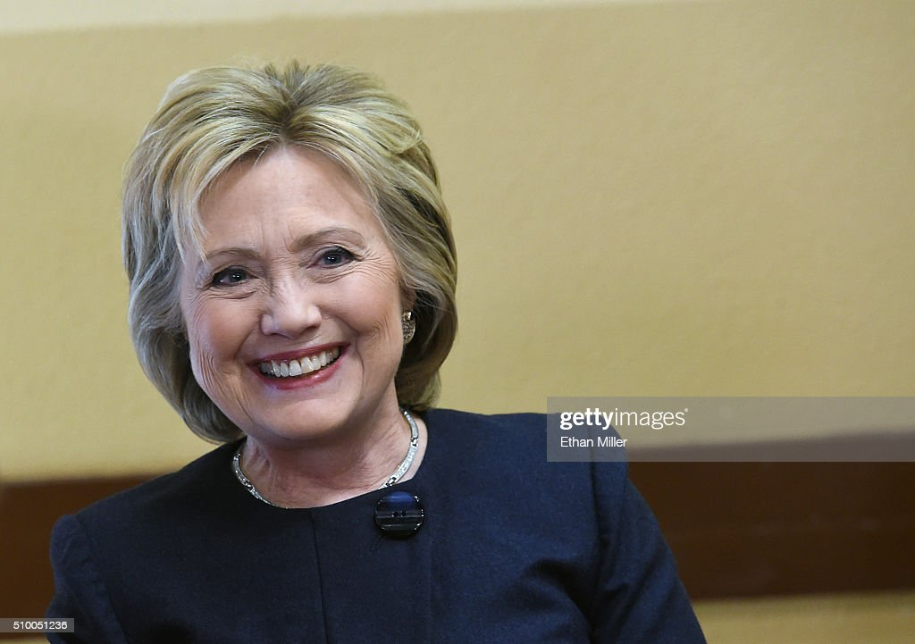 Democratic presidential candidate <a gi-track='captionPersonalityLinkClicked' href=/galleries/search?phrase=Hillary+Clinton&family=editorial&specificpeople=76480 ng-click='$event.stopPropagation()'>Hillary Clinton</a> smiles as she visits the Gritz Cafe on February 13, 2016 in Las Vegas, Nevada. Clinton is challenging Sen. Bernie Sanders for the Democratic presidential nomination ahead of Nevada's Feb. 20 Democratic caucus.