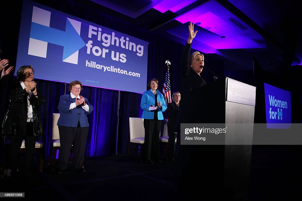 Democratic presidential candidate Hillary Clinton (R) speaks as (L-4th L) Sens. Barbara Boxer (D-CA), Barbara Mikulski (D-MD), Dianne Feinstein (D-CA), and Patty Murray (D-WA) listen during a 'Women for Hillary' fundraiser November 30, 2015 in Washington, DC. All 14 Democratic women senators, except Sen. Elizabeth Warren (D-MA) have endorsed Hillary Clinton to run for the President of the U.S.